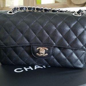 Classic Chanel Flap, small; black caviar